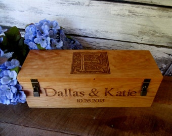Wine Box, Personalized, Wood Wine Box, Engraved Wine Box, Wine Box Ceremony, Rustic Wedding, Love Letter Box, Wedding Gift, Rustic Wedding