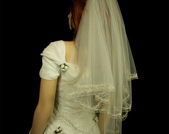 Bridal Veil - Embroidered Mantilla - Sadie Wedding Mantilla -Veil with Embroidery, Crystals, Beads and Rhinestones