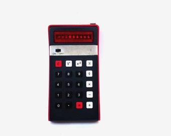 Vintage calculator Elka 103p red portable calculator pocket calculator led display desk accesories vintage school office supplies soviet 70s