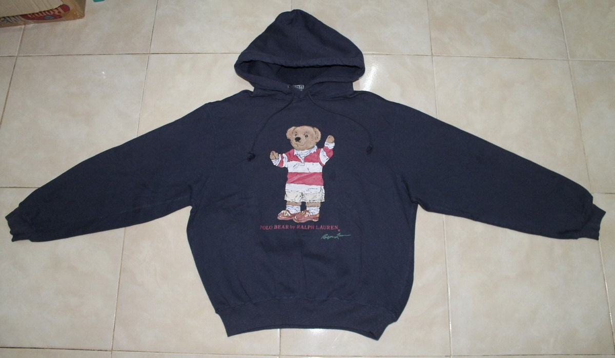 Vintage Polo Bear Ralph Lauren Hoodie Sweatshirt USED