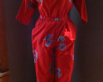 Vintage Java Wrap Indonesian Cotton Jump Suit-Batik,Sea Shells,Beach, Resort,Boho