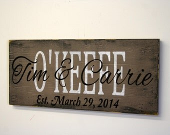 Personalized Name Sign Custom Name Sign Custom Wood Sign Wedding Gift Bridal Shower Gift Housewarming Gift Distressed Wood Sign Handpainted