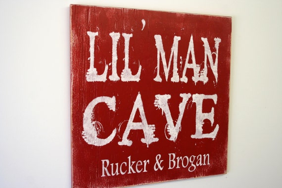 Man Cave Sign Items : Items similar to lil man cave wood sign boys bedroom