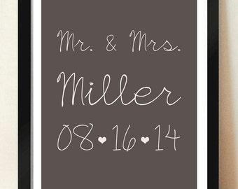 Custom Wedding Anniversary Wall Art Typography Digital Download 3D Typography Poster Art 8x10 - 11x14
