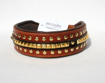 Leather Dog Collar, brass studs