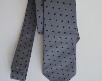 Kids Necktie-gray and black polka dot, baby necktie, boy neck tie, ring-bearer, photo prop