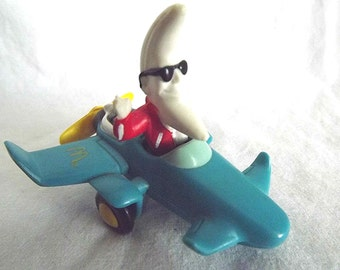 Vintage McDonald's MacTonight Happy Meal Toy 1980s Collectible Toy McDonalds Prize Blue Airplane With Wheels Happy Meal Prize Moon Character