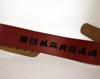 2 Custom Guitar straps. Personalized Guitar Straps, Guitar Straps, custom leather guitar straps, Walnut colour