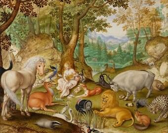 "Jacob Hoefnagel : ""Orpheus Charming the Animals"" (1616) - Giclee Fine Art Print"
