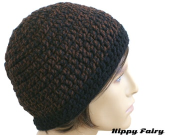 Mens beanie hat, brown beanie, crochet mens hat, beanie for men