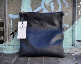 Navy Blue Handmade Leather Fold Over Clutch Purse / The Infinite Cow Leather Purse