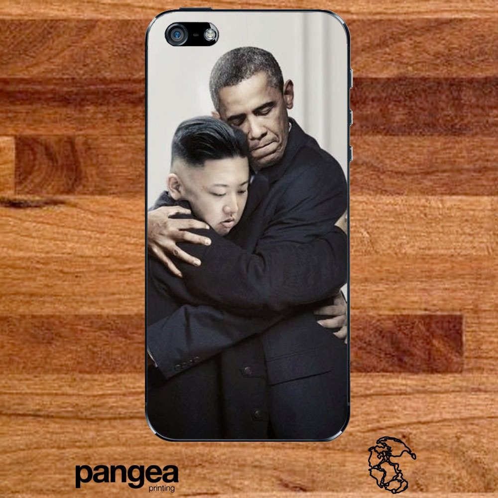 Obama and Kim Jong Un Hugging iPhone by PangeaPrinting on Etsy