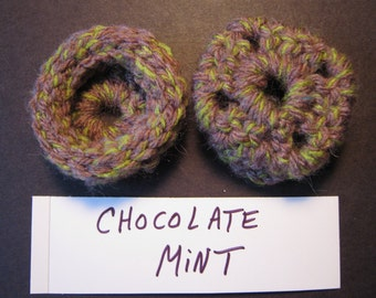 CHOCOLATE MINT Ear Pads/Cushions/Cookies for Phone Headset, Call Center, Hand-crochetted, NEW.