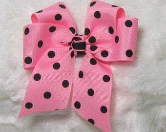 Hot Pink with Black Polka Dots 4 Inch Single Hair Bow Tied with a Hot Pink and Black Center Tie