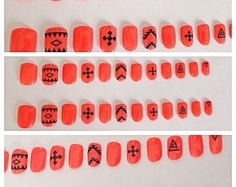 Glue-On Nails - Tribal/Aztec Print