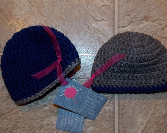 Solid Color Hat with Stripe Trim