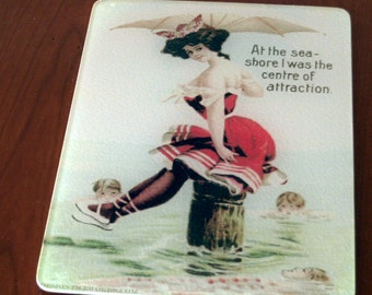 "Vintage Cutting Board  ""Sally at the Seashore"""