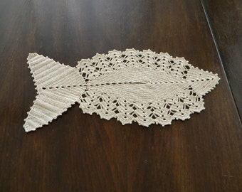 Handmade crochet doily fish