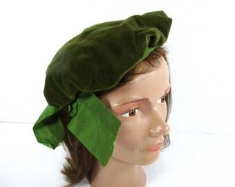 Vintage Berret,green Hat, OOAK hat,Vintage Hat, Velvet Hat,