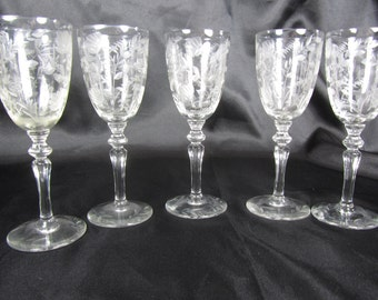 Vintage Cordial glasses, Etched Glass, Wedding, Wine Glass Set, French,