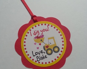 I dig you Valentine Tags, Truck Valentine Tags