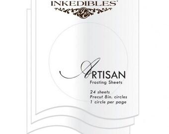 Inkedibles Artisan Frosting Sheets 24 sheets: Precut 8.0 inch circles (1 circle per sheet)