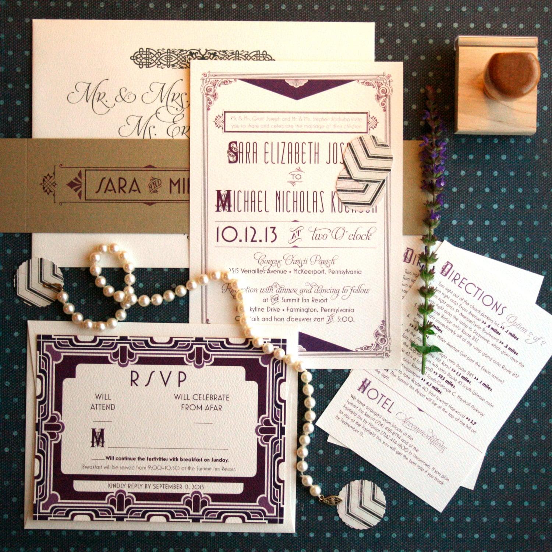 Art Deco Wedding Invitation: Art Deco Wedding Invitations Inspired By The By