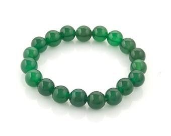 stretch beaded bracelet green agate 10mm | elastic beaded semi precious stone