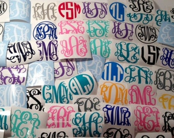"3"" Monogram Decals, 4 Styles, 47 Colors, Custom, Personalized"