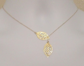 Leaf Lariat Necklace - Gold Leaf Lariat, gold, yellow, Gold filled Leaf Lariat Necklace, Valentines Day, Bridesmaid Gifts,