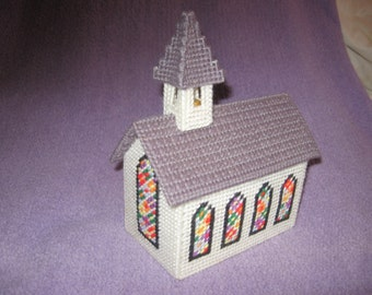 Christmas Vintage Church Plastic Canvas Handmade Stitchery Decoration Sale/Clearance 10% Off