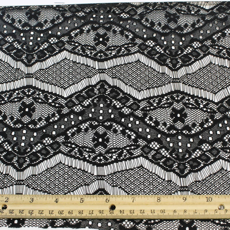 black eyelash floral lace fabric by the yard or wholesale