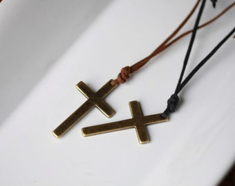 Mens Large Metal cross - Mens Cross Necklace - Stunning Metal Cross