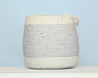 White and Blue Cotton Sash Cord Basket