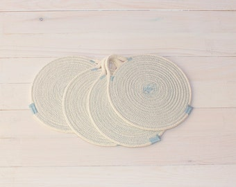Set of 4 Light Blue Cotton Sash Cord Trays