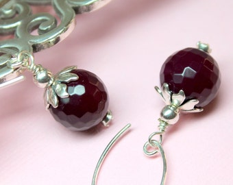Wine Agate Earrings, Dark Burgundy Agate Stones, Sterling Silver, Gemstone Drop Earrings, Large Agate Dangles