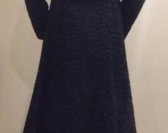 Vintage Black Swakara Persian Lamb Full Length Coat (Size Small)