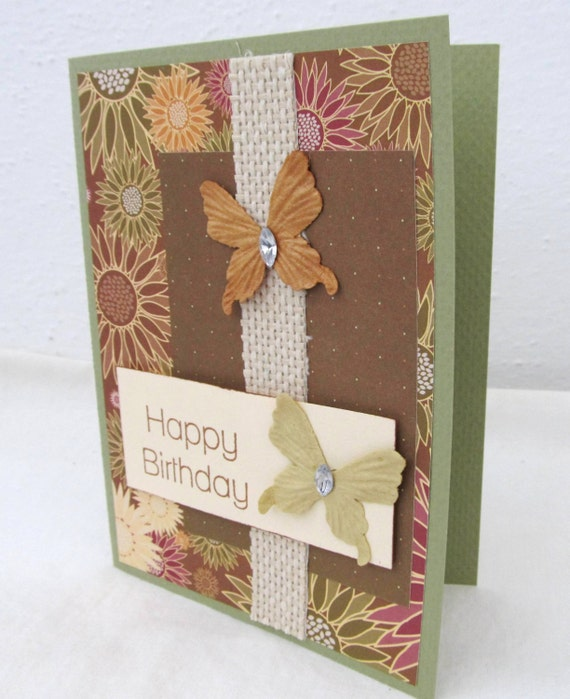 Birthday Card - Happy Birthday - Earth Tones - Butterfly Card - Rustic Chic Style - Hand Stamped Card - Blank Card - Brown Accents - Flowers
