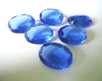 Vintage Glass Oval Sapphire Blue colour Non Foiled Stone 18mm x 13mm-6 pieces