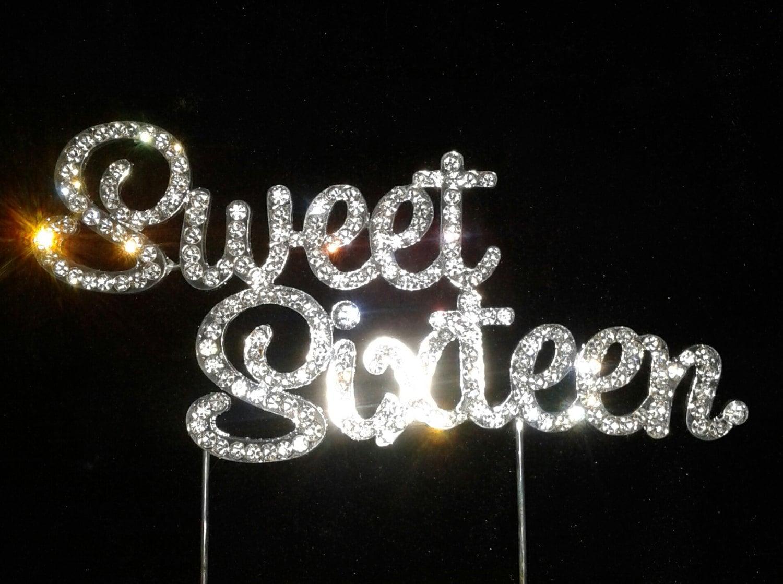 Monogram Bling Sweet sixteen cake topper cake topper for