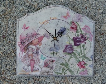 Sarah kay's happy time-Handmade decoupaged wooden wall clock by EMMANOUELA-Size:29x26,5cm(11,41'x10,43')