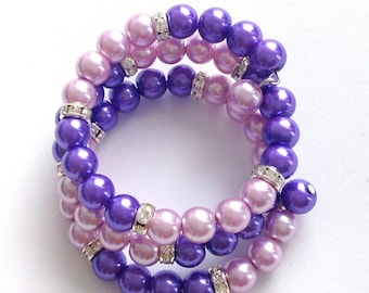 Pink and purple glass pearl memory wire bracelet