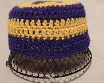 College Football Navy and Gold Crochet Hat