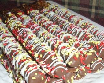 Gourmet Chocolate Covered Pretzel Rods - 1 Dozen