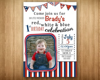 PRINTABLE 4th of July 1st BIrthday Red White and Blue Celebration Photo Invitation Picture Invitation Boy