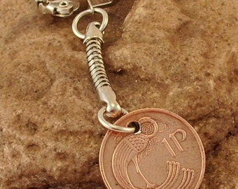 1975 1p One Pence Penny Irish Coin Keyring Key Chain Fob 42nd Birthday