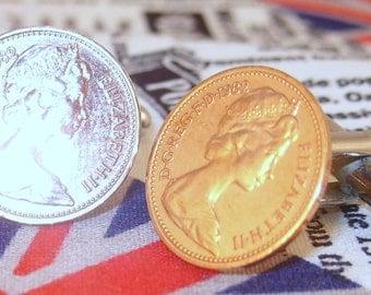 Boxed Pair Vintage British 1982 Half Pence Penny Coin Cufflinks Wedding 35th Birthday Anniversary