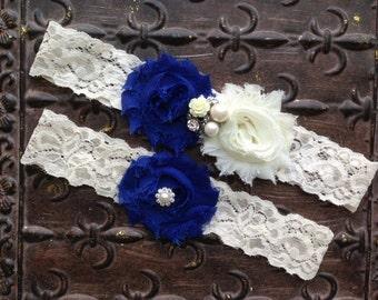 Royal Blue Garter, Royal Blue Wedding Garter, Something Blue Wedding Garter, Royal Blue Bridal Garter, Ivory Lace Garter, Ivory Blue Garter