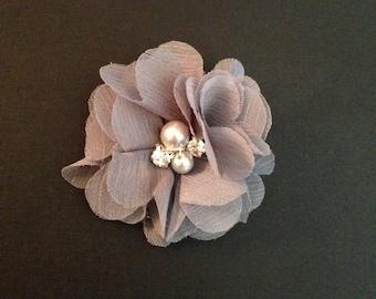 Gray Hair Clip - Sparkly Rhinestone, Pearl Center - Chiffon Rosette Clippie