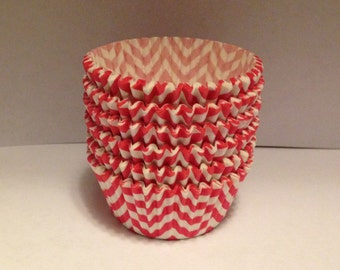 Clearance! 50 count - Greaseproof  Pink chevron design standard size cupcake liners/baking cups